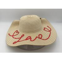 Wholesale Women's Bold Cursive Embroidered Adjustable Beach Floppy Sun Hat/summer straw hat from china suppliers