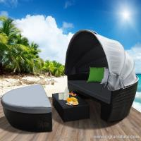 Wholesale Waterproof New Wicker Outdoor Furniture Day Bed Sun Lounge Setting Round Black Rattan Set from china suppliers