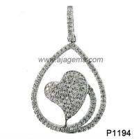 Wholesale Fashion 925 Silver Heart Delicate GemstoneJewelry Pendant  , White Topaz And Black Sapphire from china suppliers