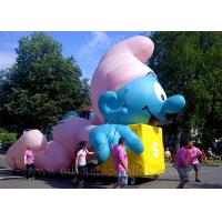 Wholesale Large Inflatable Cartoon Characters , Sewing Lovely Blue Inflatable Smurf from china suppliers