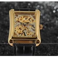Wholesale Winner mechanical Mens Wrist Watches leather band gold color Stainless steel from china suppliers