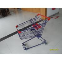 Quality Blue 3 Inch PVC Caster Wire Shopping Trolley , 75L Retail Shopping Cart for sale