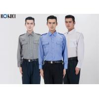 Wholesale Polyester Cotton Male Security Officer Uniforms Blue Long Sleeve Shirt from china suppliers