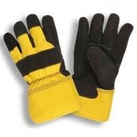 Wholesale yellow color B grade cow split Working leather glove with rubberized cuff from china suppliers