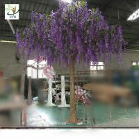 Wholesale UVG WIS011 4 meters purple fake trees with silk wisteria flowers for party decoration from china suppliers