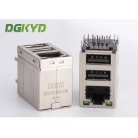 Wholesale Stacked RJ45 jack over dual deck USB Connector combo rj45 with 100Mb transformer from china suppliers