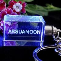 Wholesale led crystal keychain with 3d laser engraving from china suppliers