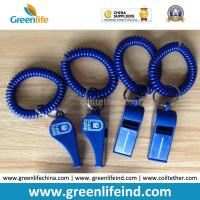 Wholesale Popular Sales Blue Plastic Wristband Coiled Holder w/Blue Custom Logo Imprinted Whistle from china suppliers