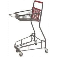 Wholesale Gray Metal 2 - Tier Supermarket Basket Shopping Trolley Anti - Collision With 4 PU wheels from china suppliers