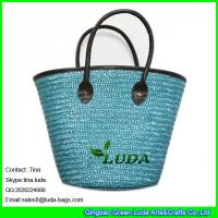 Wholesale LUDA ladies leather hanles wheat handbags straw beach bags and totes from china suppliers