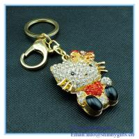 Wholesale Lovely hello kitty shape metal key chain with rhinestone from china suppliers