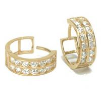 Wholesale 14K Gold Two Row Cubic Zirconia CZ Huggie Earrings,gold jewelry,fine jewelry from china suppliers