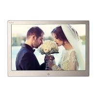 China Golden HD Digital Photo Frame With Remote Control / 12.3 Inch Led Digital Photo Album on sale