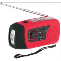 Quality Mini Solar Powered FM Radio with 3 bright white LED and USB Connectors for sale