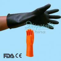 Wholesale Black Long Sleeve Orange Lined Anti Acid Industrial Latex Glove from china suppliers