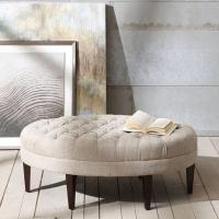 Wholesale 100% Polyester Folding Storage Ottoman Sitting Room , Tufted Round Ottoman from china suppliers