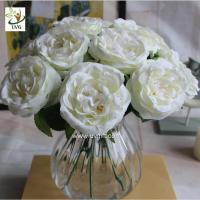 Wholesale UVG FRS67 Decoration ideas white artificial rose bouquet of flowers for wedding themes from china suppliers