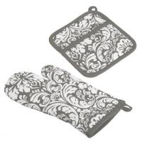 Wholesale 100% Cotton, Machine Washable, Everyday Kitchen Basic, Damask Printed Oven Mitt and Pothol from china suppliers