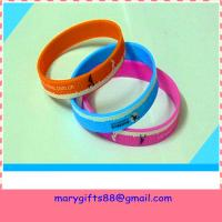 Buy cheap Eco-friendly glitter printed silicone bracelet wristband from wholesalers