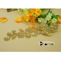 Wholesale Gold Base Ab Stone Evening Dresses Rhinestone Beaded Applique With Flower Design from china suppliers