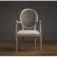Wholesale Fully upholstered Linen Fabric Dining Chair with Round Cane Back Arm for hotel from china suppliers