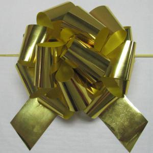 5 Inch Dia Gold Iridescent / Metallic Pom Pom ribbon bow for valentine's flower packing