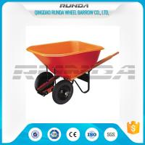 China Platic Tray Material Heavy Duty Wheelbarrow 180kg Load Wooden Handle Farm Tools on sale