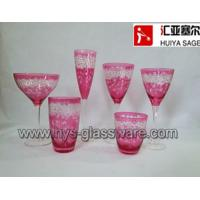 Wholesale Engraved glasses, wine glasses,hiball, tumblers, pink color, factory from china suppliers
