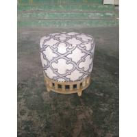 Wholesale Comfortable French Antique Upholstered Round Leather Ottoman Stool Wooden Base from china suppliers
