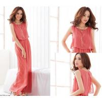 Wholesale Fashionable Style Scoop Neck Sleeveless Solid Color Bohemian Chiffon Maxi Dress for women from china suppliers