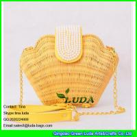 Wholesale LUDA fashion seashell shape rattan straw handbags handwoven summer beach bag from china suppliers