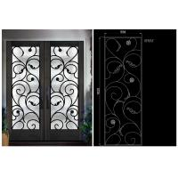 Wholesale Natural Lighting Elegant Inlaid Door Wrought Iron Glass For Building Hand Forged Dignified from china suppliers