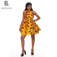 Quality OEM Retro Inspired Style African Attire Dresses / 100% Cotton Wax Print Dresses for sale