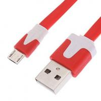 Wholesale Flat Micro USB Cell Phone Data Cables , Red USB Data Sync Charger Cable from china suppliers