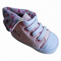 Wholesale Casual Baby Girl Shoe, High-cut Style, Canvas Upper, Soft Sole, Good for Wear from china suppliers
