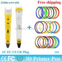 Wholesale Yellow 3D Drawing Pen Doodle With 20 Color 10m ABS Filament AU /EU/ from china suppliers