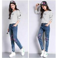 Wholesale Fashionable Women'S Printed Denim Jeans High Waisted Acid Wash Light Blue Ripped from china suppliers