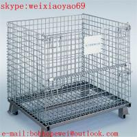 Wholesale Wire Mesh Cargo Folding Container Cage/wire storage cages/storage cages on wheels/metal storage containers fctory from china suppliers