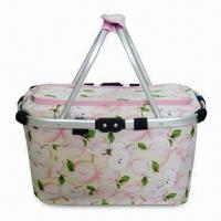 Wholesale Shopping/Picnic/Utility Basket with Double Aluminum Handle and PEVA Lining, Made of Microfiber from china suppliers