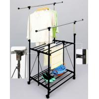 Wholesale Double Layer Metal Clothes Drying Rack Folding Mobile with Wheels / Shelves from china suppliers