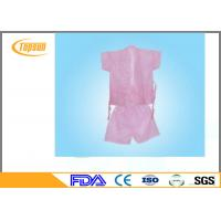 Quality Pink Lightweight Disposable SPA Products Bathrobes / Bathroom Robe Sauna Suit Gown for sale
