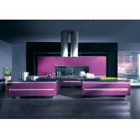 Wholesale Solid Wood Closeout Modern Kitchen Cabinets With Purple Lacquer Finishes from china suppliers
