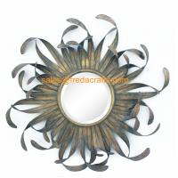 Wholesale Direct Factory Price Nice Design Sun Shape Metal Decorated Wall Mirrors from china suppliers
