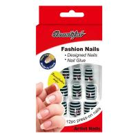Wholesale Stripe decorated fake nails / Full Cover Fake Nails / beautiful false nail tips from china suppliers