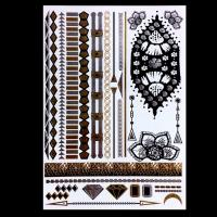 Quality Colorful Temporary Metallic Jewelry Tattoo Stickers , Boys Temporary Tattoos for sale