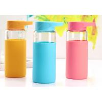 Quality 370ML Break Proof Borosilicate Glass Water Bottle With Silicone Sleeve , Multi Colors Available for sale