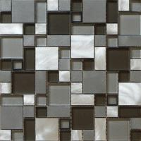 Wholesale 3D square tile glass mix metal mosaic brush finished for wall decoration from china suppliers
