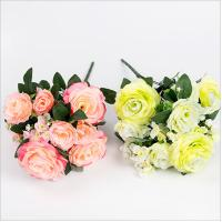 China 11 Heads Artificial Silk Rose Bush on sale