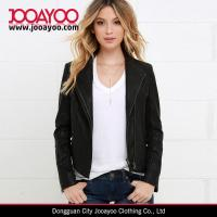 Wholesale Latest Women Winter Coat Design Chic Black Vegan Leather Jacket from china suppliers