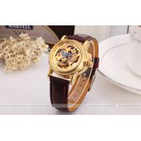 Wholesale Winner Fashion ladies Automatic Watch Gold Dial And Brown Band from china suppliers